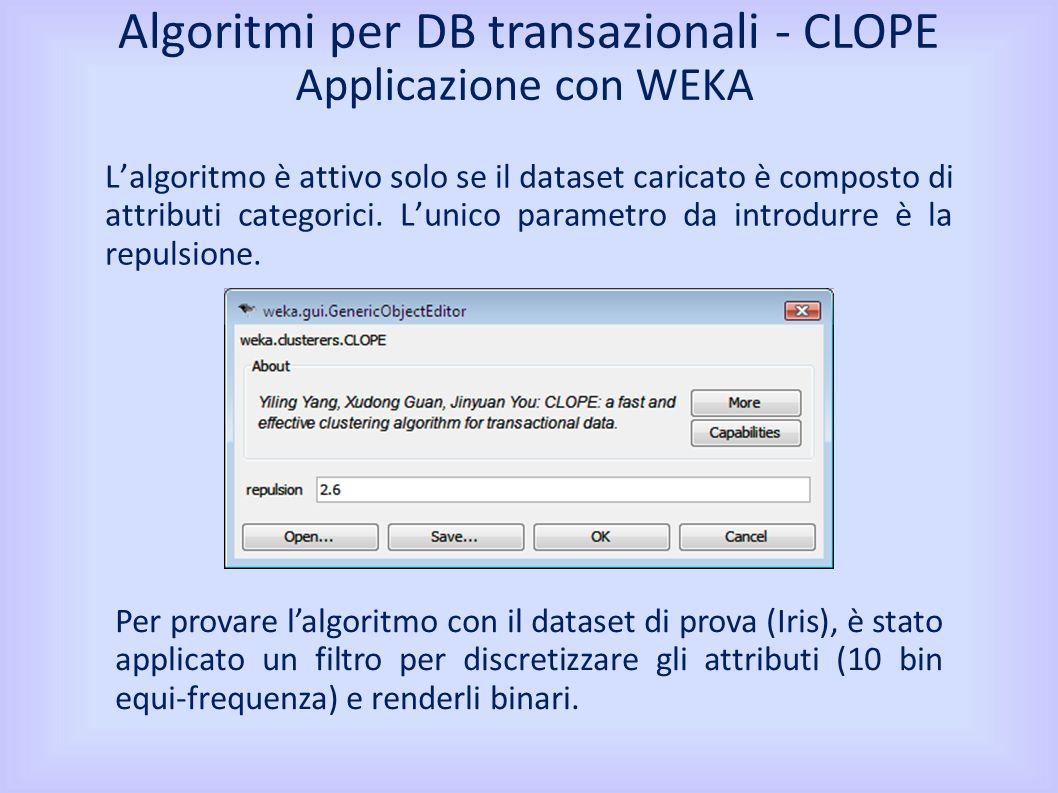 Applicazione con WEKA Lalgoritmo è attivo solo se il dataset caricato è composto di attributi categorici.