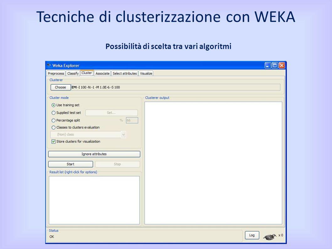 Possibilità di scelta tra vari algoritmi Tecniche di clusterizzazione con WEKA