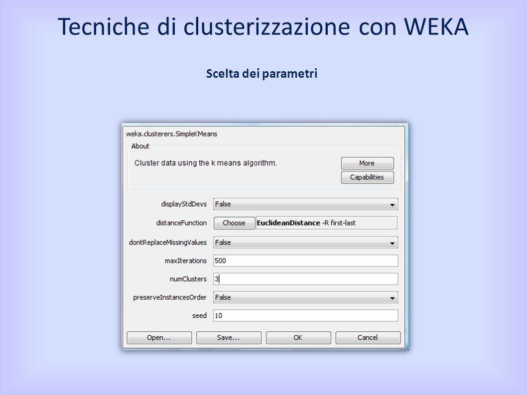 Tecniche di clusterizzazione con WEKA Il Cluster mode è utilizzato per scegliere cosa clusterizzare e le modalità con cui valutare i risultati Cluster Mode