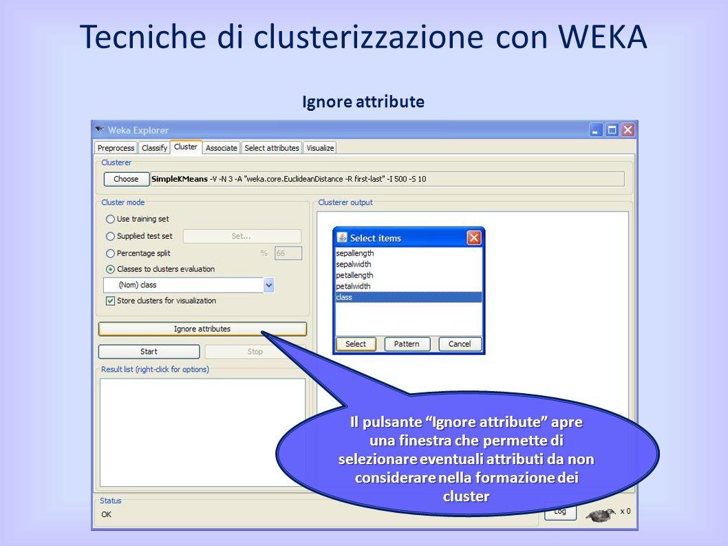 Il pulsante Ignore attribute apre una finestra che permette di selezionare eventuali attributi da non considerare nella formazione dei cluster Tecniche di clusterizzazione con WEKA Ignore attribute
