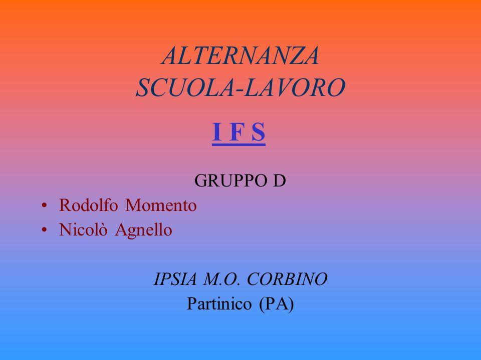 ALTERNANZA SCUOLA-LAVORO GRUPPO D Rodolfo Momento Nicolò Agnello IPSIA M.O. CORBINO Partinico (PA) I F S