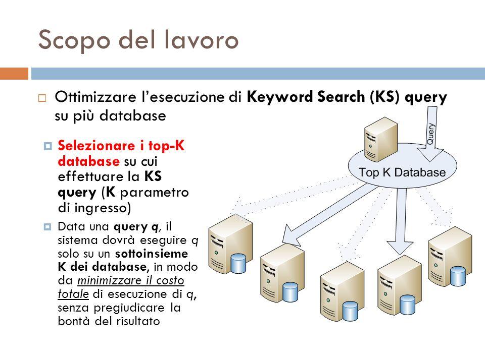 Scopo del lavoro Selezionare i top-K database su cui effettuare la KS query (K parametro di ingresso) Data una query q, il sistema dovrà eseguire q so