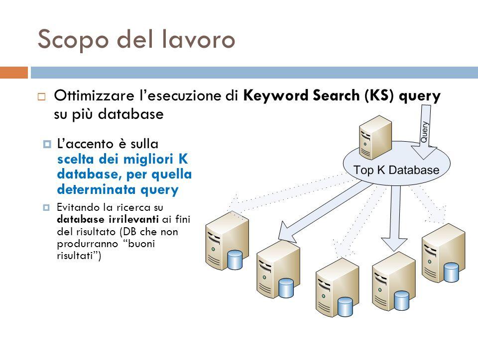 Scopo del lavoro Laccento è sulla scelta dei migliori K database, per quella determinata query Evitando la ricerca su database irrilevanti ai fini del risultato (DB che non produrranno buoni risultati) Ottimizzare lesecuzione di Keyword Search (KS) query su più database