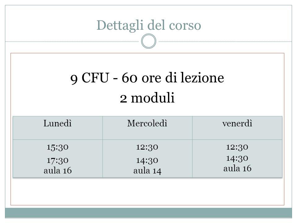 Dettagli del corso 9 CFU - 60 ore di lezione 2 moduli