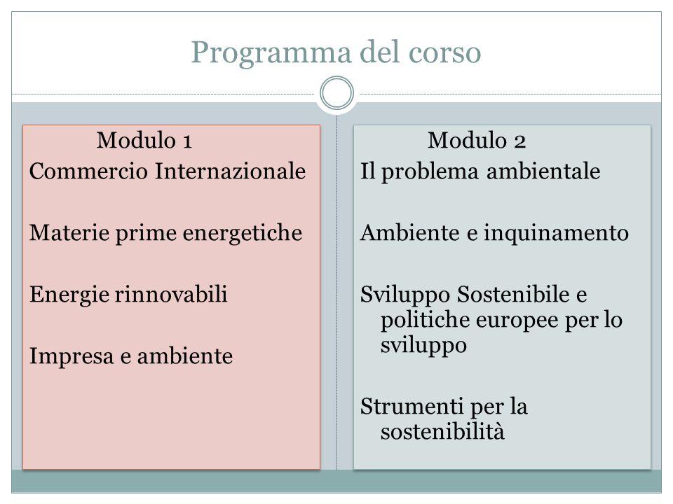 Programma del corso Modulo 1 Commercio Internazionale Materie prime energetiche Energie rinnovabili Impresa e ambiente Modulo 1 Commercio Internaziona