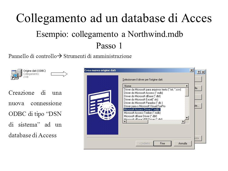 Collegamento ad un database di Acces Esempio: collegamento a Northwind.mdb Passo 1 Creazione di una nuova connessione ODBC di tipo DSN di sistema ad u