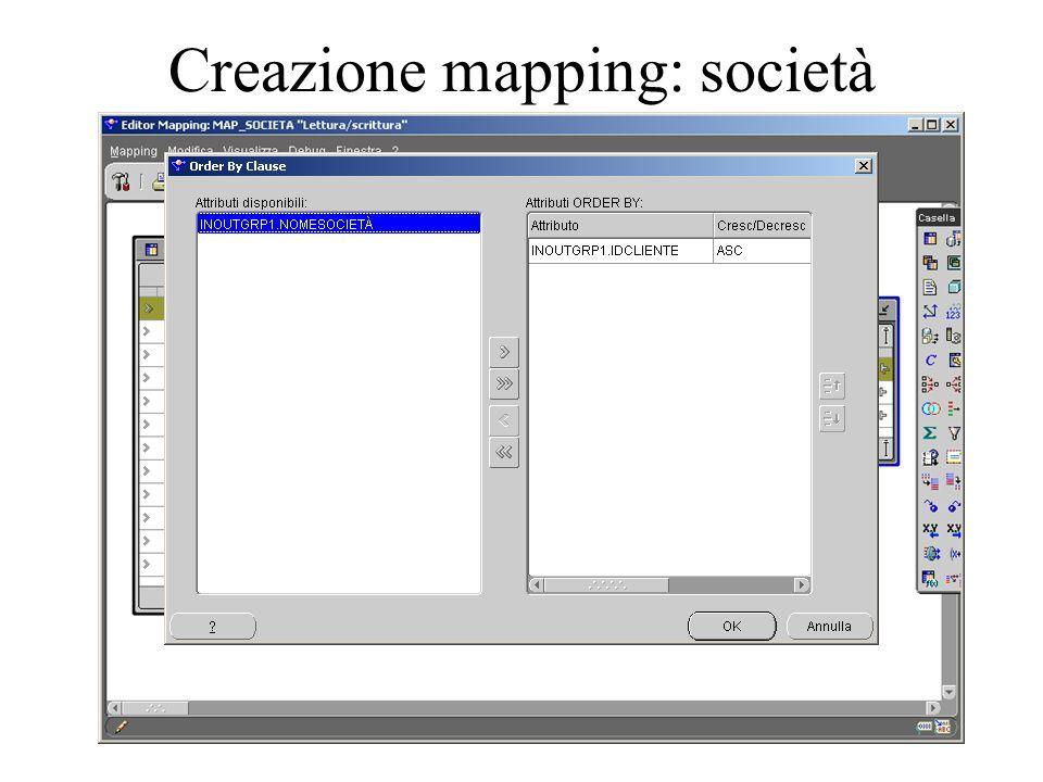 Creazione mapping: società