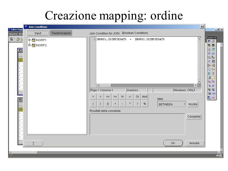 Creazione mapping: ordine
