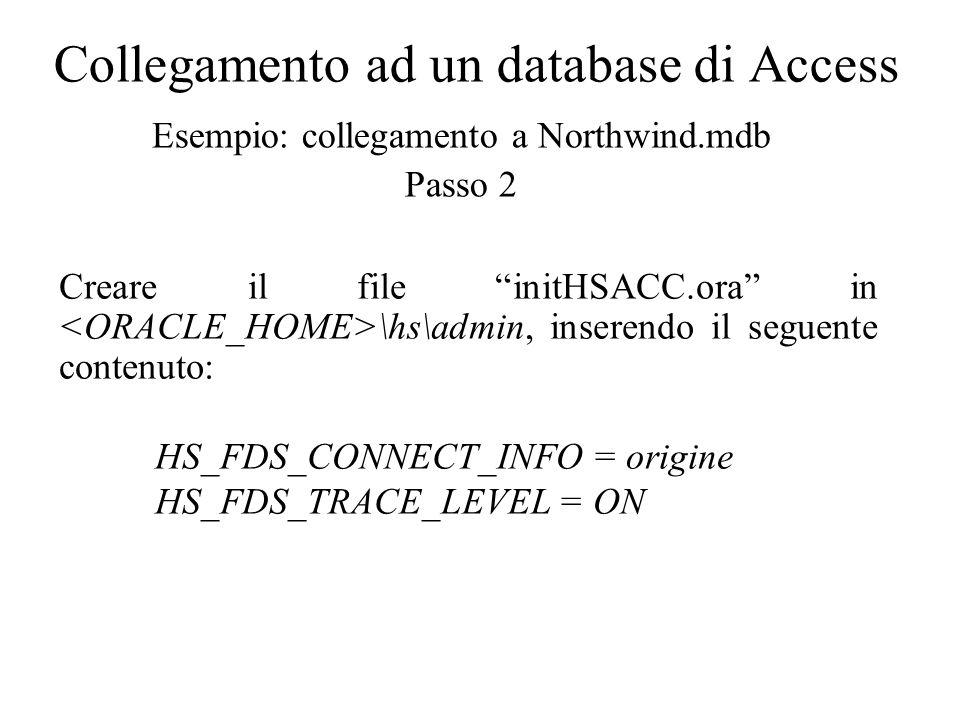Collegamento ad un database di Access Esempio: collegamento a Northwind.mdb Passo 3 Modificare il file listener.ora che si trova in \network\admin, aggiungendo nella SID_LIST la seguente voce: (SID_DESC = (PROGRAM = hsodbc) (SID_NAME = HSACC) (ORACLE_HOME = ) )
