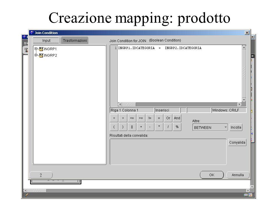 Creazione mapping: prodotto