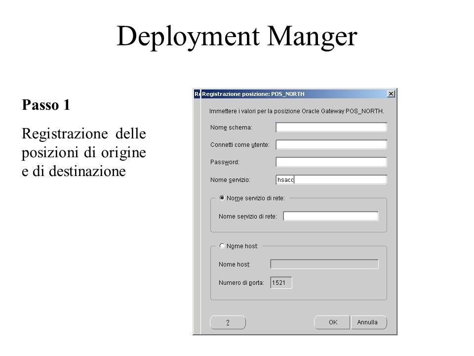 Deployment Manger Passo 1 Registrazione delle posizioni di origine e di destinazione
