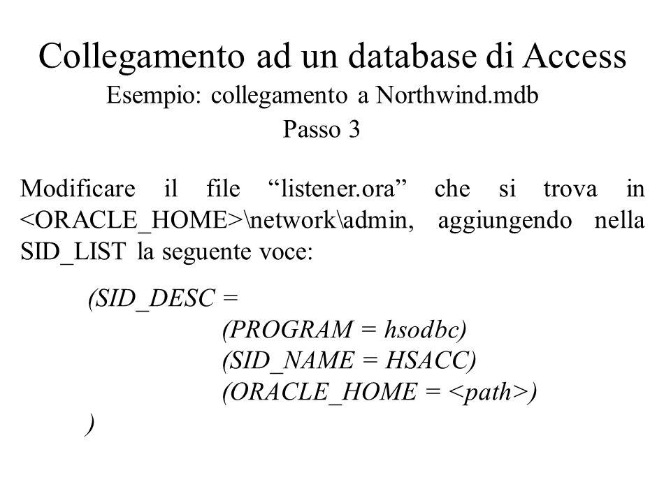 Collegamento ad un database di Access Esempio: collegamento a Northwind.mdb Passo 4 Modificare il file tnsnames.ora che si trova in \network\admin, aggiungendo la seguente voce: JELLY = (DESCRIPTION = (ADDRESS_LIST = (ADDRESS=(PROTOCOL=TCP)(HOST = )(PORT=1521)) ) (CONNECT_DATA =(SID = HSACC)) (HS = OK) )