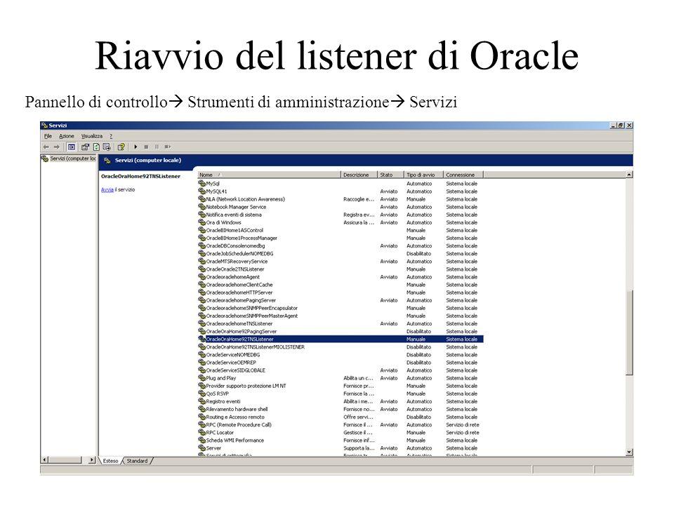 Riavvio del listener di Oracle Pannello di controllo Strumenti di amministrazione Servizi