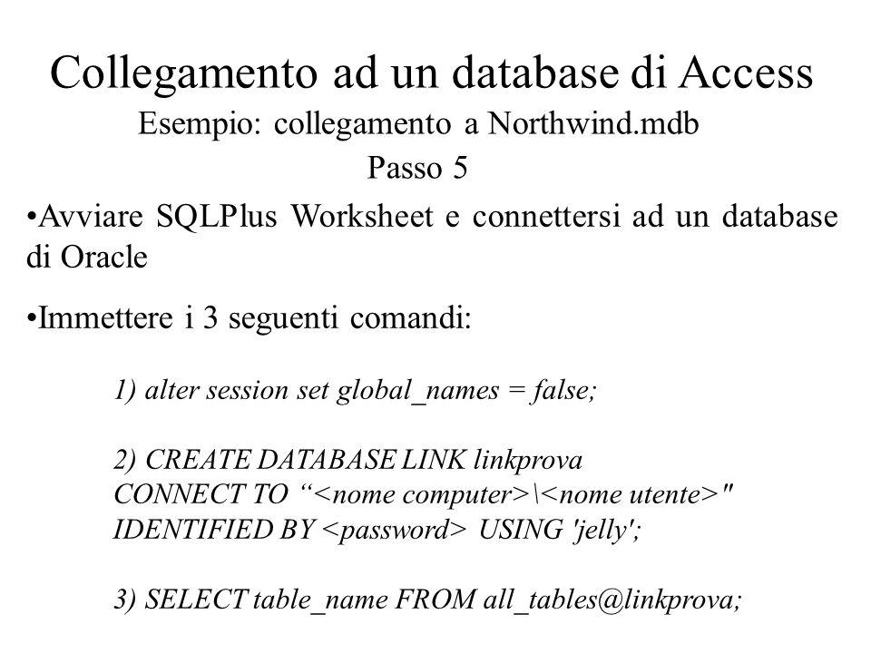 Collegamento ad un database di Access Esempio: collegamento a Northwind.mdb Passo 5 Avviare SQLPlus Worksheet e connettersi ad un database di Oracle I