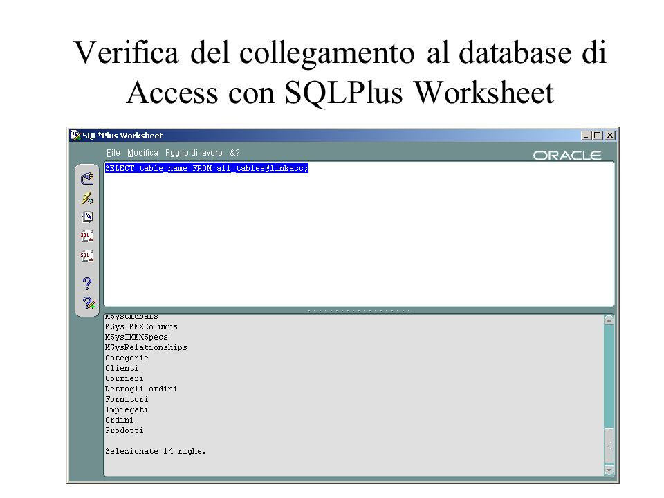 Codici di errore di Oracle ORA-28545: error diagnosed by Net8 when connecting to an agent NCRO: Failed to make RSLV connection ORA-02063: preceding 2 lines from JELLY.