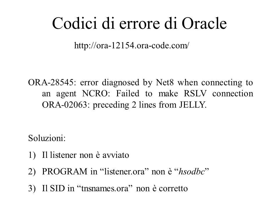 Sblocco tabelle Eseguire in SQLPLUS WORKSHEET come SYSDBA i seguenti comandi per terminare processi che eventualmente hanno posto le tabelle in stato di lock select b.Object_Name Object Name ,ORACLE_USERNAME, b.Object_Type Type , a.session_id Session , c.serial# Serial , DECODE(a.locked_mode, 0, None , 1, Null , 2, Row-S , 3, Row-X , 4, Share , 5, S/Row-X , 6, Exclusive ,a.Locked_Mode) Locked Mode from v$locked_object a,sys.all_objects b,v$session c where a.object_id = b.object_id and c.sid=a.session_id order by 1 desc; alter system kill session PID,SERIAL immediate; Il primo comando restituisce un elenco di tabelle.