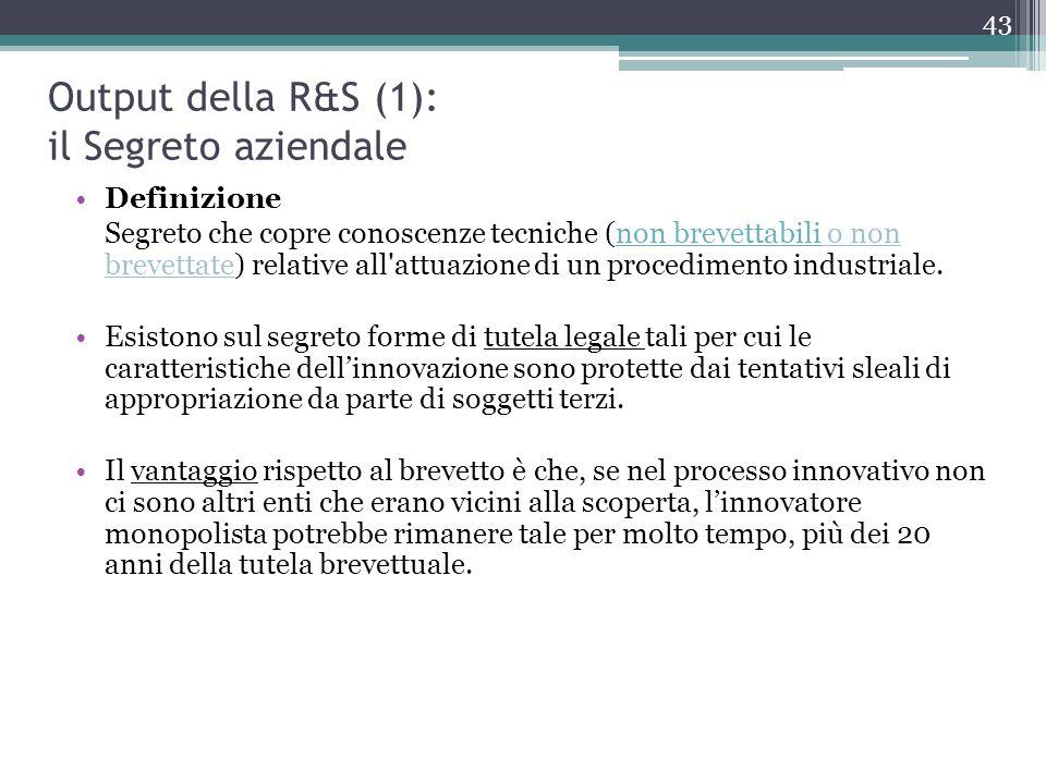 Output della R&S (1): il Segreto aziendale Definizione Segreto che copre conoscenze tecniche (non brevettabili o non brevettate) relative all'attuazio