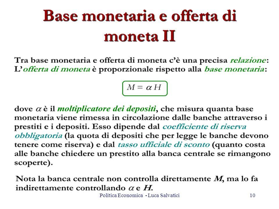 Base monetaria e offerta di moneta II 10Politica Economica - Luca Salvatici