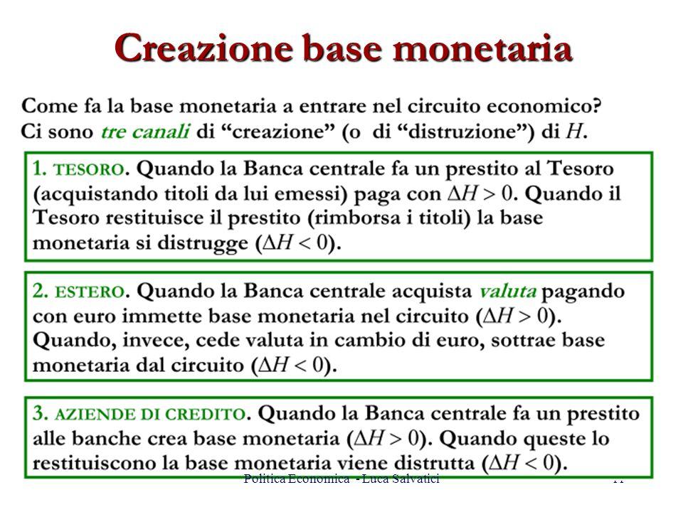 Creazione base monetaria 11Politica Economica - Luca Salvatici