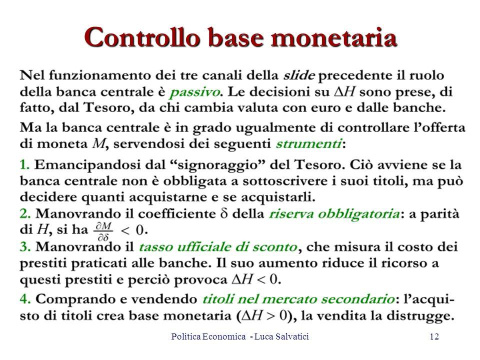 Controllo base monetaria 12Politica Economica - Luca Salvatici