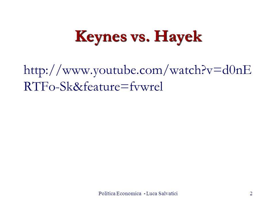 Keynes vs. Hayek Politica Economica - Luca Salvatici2 http://www.youtube.com/watch?v=d0nE RTFo-Sk&feature=fvwrel