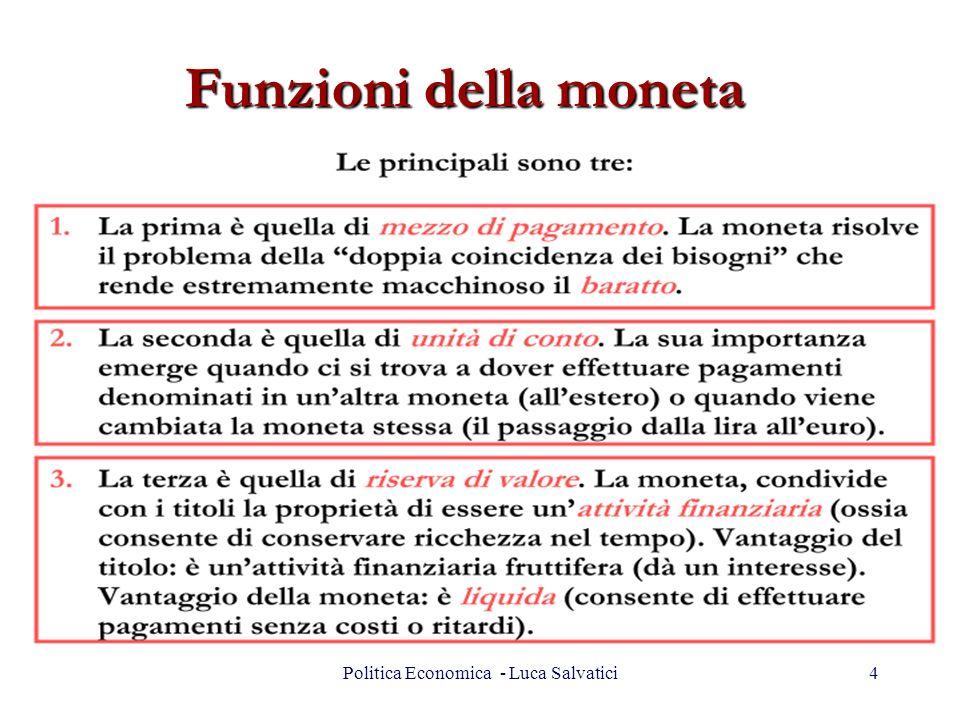 Funzioni della moneta 4Politica Economica - Luca Salvatici