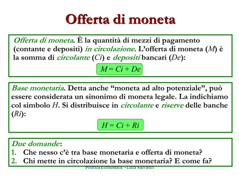 Offerta di moneta 8Politica Economica - Luca Salvatici