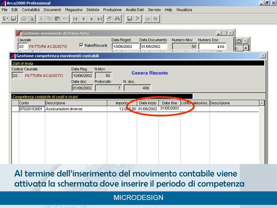 Al termine dellinserimento del movimento contabile viene attivata la schermata dove inserire il periodo di competenza MICRODESIGN