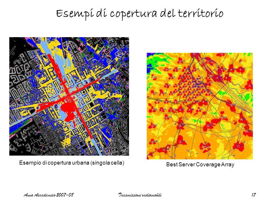 Anno Accademico 2007-08Trasmissioni radiomobili17 Esempi di copertura del territorio Best Server Coverage Array Esempio di copertura urbana (singola cella)