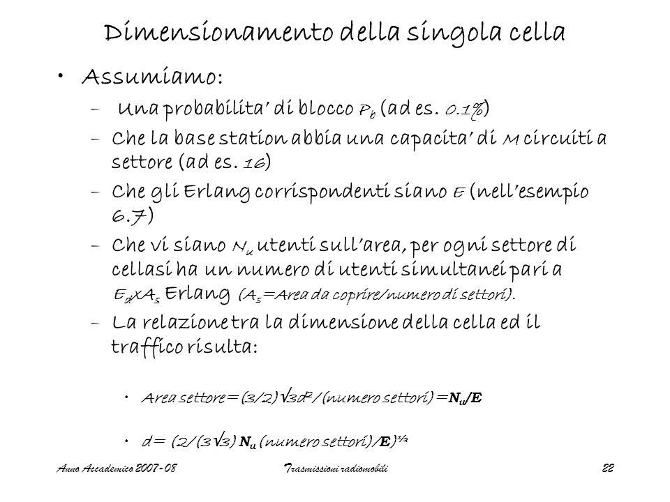 Anno Accademico 2007-08Trasmissioni radiomobili22 Assumiamo: – Una probabilita di blocco P b (ad es.