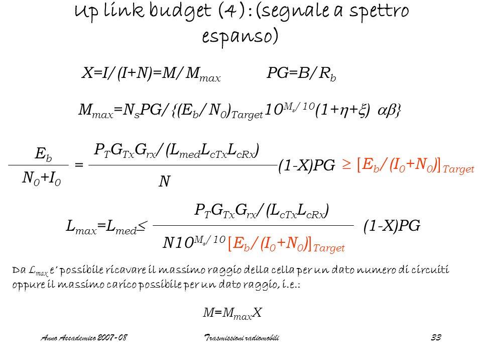 Anno Accademico 2007-08Trasmissioni radiomobili33 Up link budget (4):(segnale a spettro espanso) X=I/(I+N)=M/M max M max =N s PG/{(E b /N 0 ) Target 10 M s /10 (1+ + ) } PG=B/R b EbEb N 0 +I 0 = P T G Tx G rx /(L med L cTx L cRx ) N (1-X)PG [ E b /(I 0 +N 0 ) ] Target L max =L med P T G Tx G rx /(L cTx L cRx ) N10 M s /10 (1-X)PG [ E b /(I 0 +N 0 ) ] Target Da L max e possibile ricavare il massimo raggio della cella per un dato numero di circuiti oppure il massimo carico possibile per un dato raggio, i.e.: M=M max X