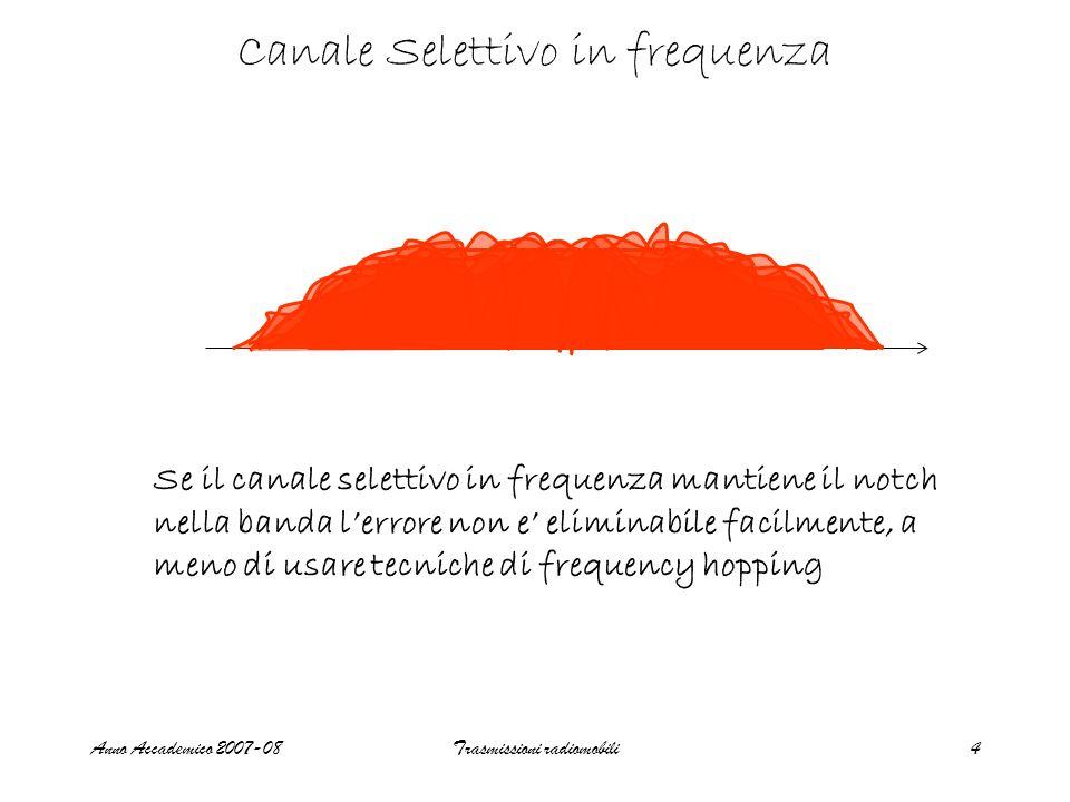 Anno Accademico 2007-08Trasmissioni radiomobili4 Canale Selettivo in frequenza Se il canale selettivo in frequenza mantiene il notch nella banda lerrore non e eliminabile facilmente, a meno di usare tecniche di frequency hopping