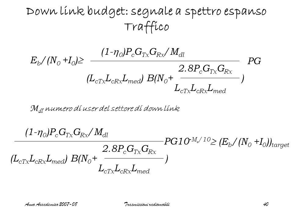 Anno Accademico 2007-08Trasmissioni radiomobili40 Down link budget: segnale a spettro espanso Traffico M dl numero di user del settore di down link E b /(N 0 +I 0 ) (1- 0 )P c G Tx G Rx /M dl (L cTx L cRx L med ) B(N 0 + ) 2.8P c G Tx G Rx L cTx L cRx L med PG (1- 0 )P c G Tx G Rx /M dl (L cTx L cRx L med ) B(N 0 + ) 2.8P c G Tx G Rx L cTx L cRx L med PG10 -M s /10 (E b /(N 0 +I 0 )) target