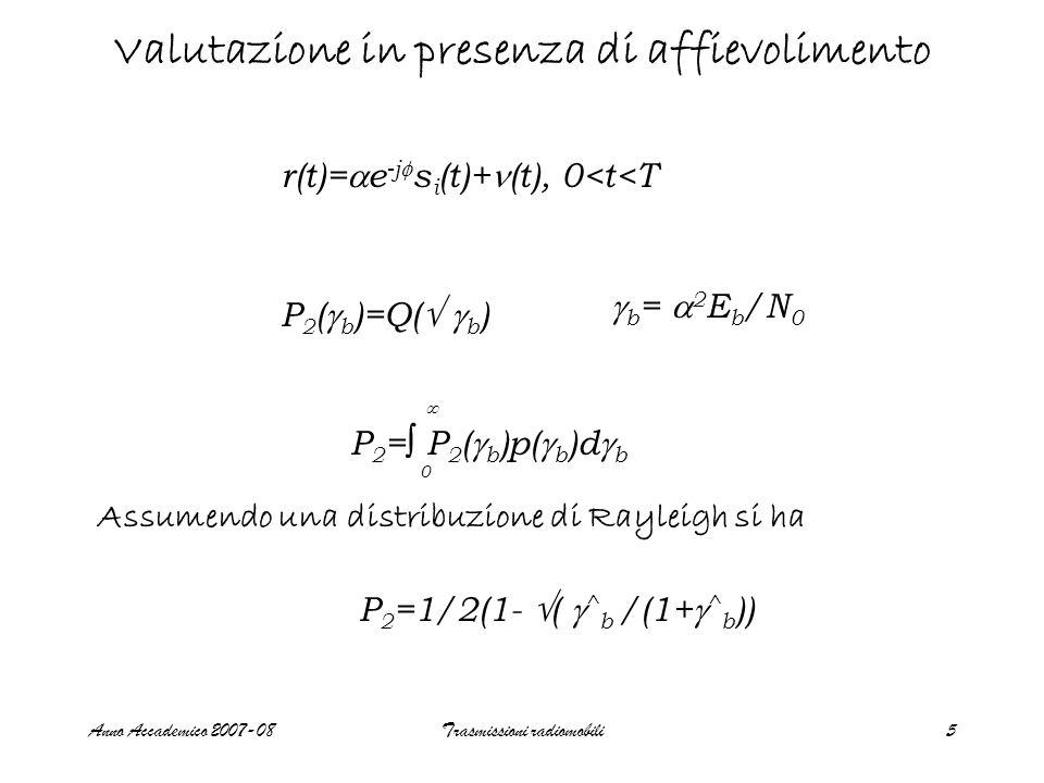 Anno Accademico 2007-08Trasmissioni radiomobili5 Valutazione in presenza di affievolimento r(t)= e -j s i (t)+ (t), 0<t<T P 2 ( b )=Q( b ) b = 2 E b /N 0 P 2 = P 2 ( b )p( b )d b 0 Assumendo una distribuzione di Rayleigh si ha P 2 =1/2(1- ( ^ b /(1+ ^ b ))