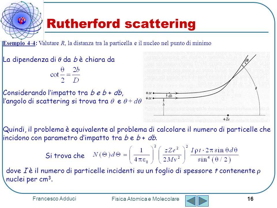 Francesco Adduci Fisica Atomica e Molecolare 17 Instabilità dellatomo di Rutherford