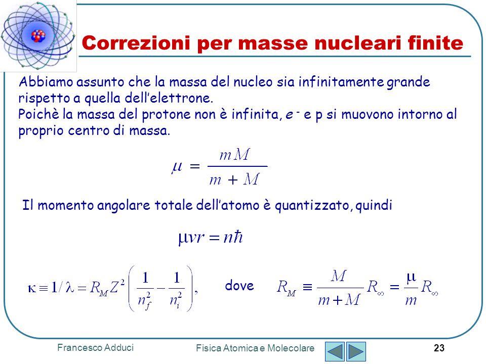Francesco Adduci Fisica Atomica e Molecolare 24 Risultati modello di Bohr