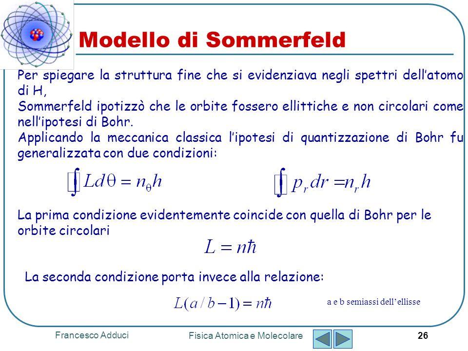 Francesco Adduci Fisica Atomica e Molecolare 27 n = 1, 2, 3, … n r = 0, 1, 2, 3, … n massa ridotta dellelettrone n numero quantico n è detto numero quantico principale n è detto numero quantico azimutale Il modello di Sommerfeld
