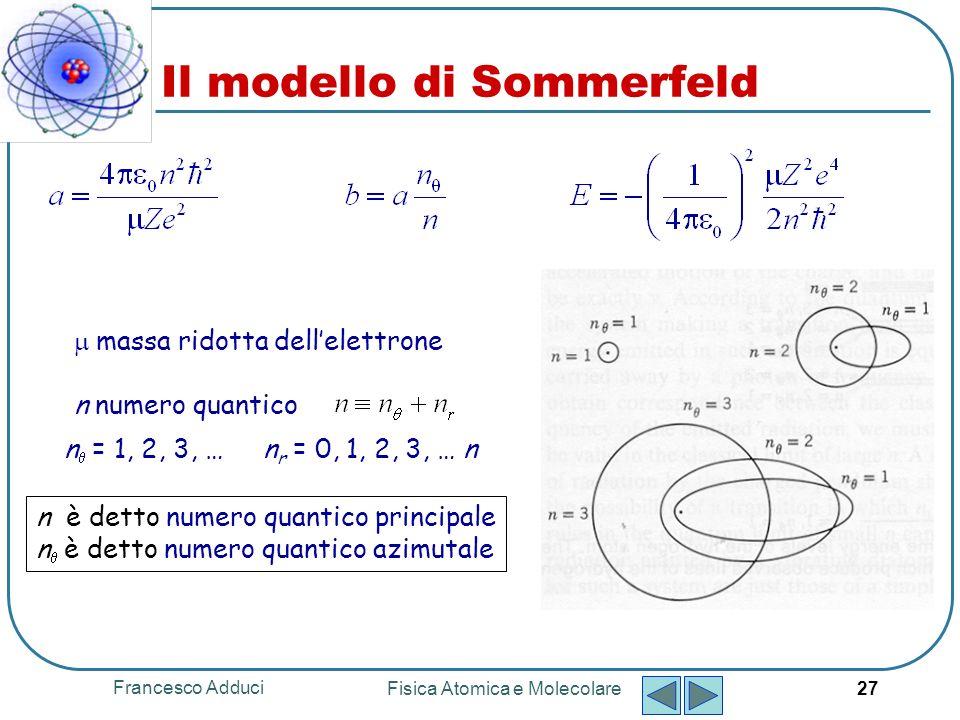Francesco Adduci Fisica Atomica e Molecolare 28 Tenendo anche conto di correzioni relativistiche Sommerfeld arrivò allespressione: α = costante di struttura fine dove Il modello di Sommerfeld