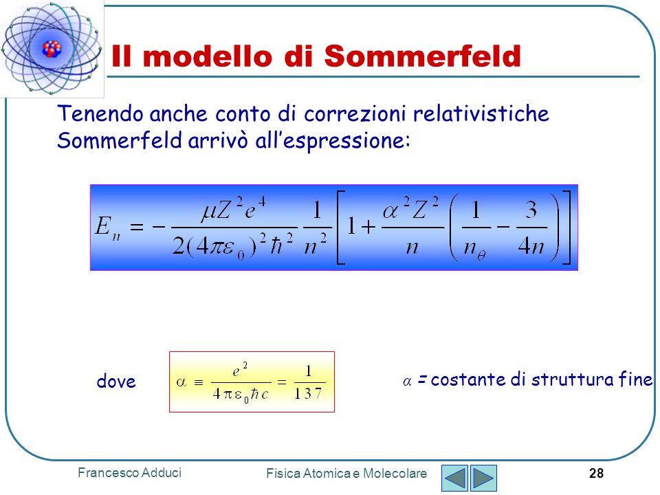 Francesco Adduci Fisica Atomica e Molecolare 29 Spettri atomici La radiazione elettromagnetica emessa da atomi liberi è concentrata in un numero di lunghezze donda discrete