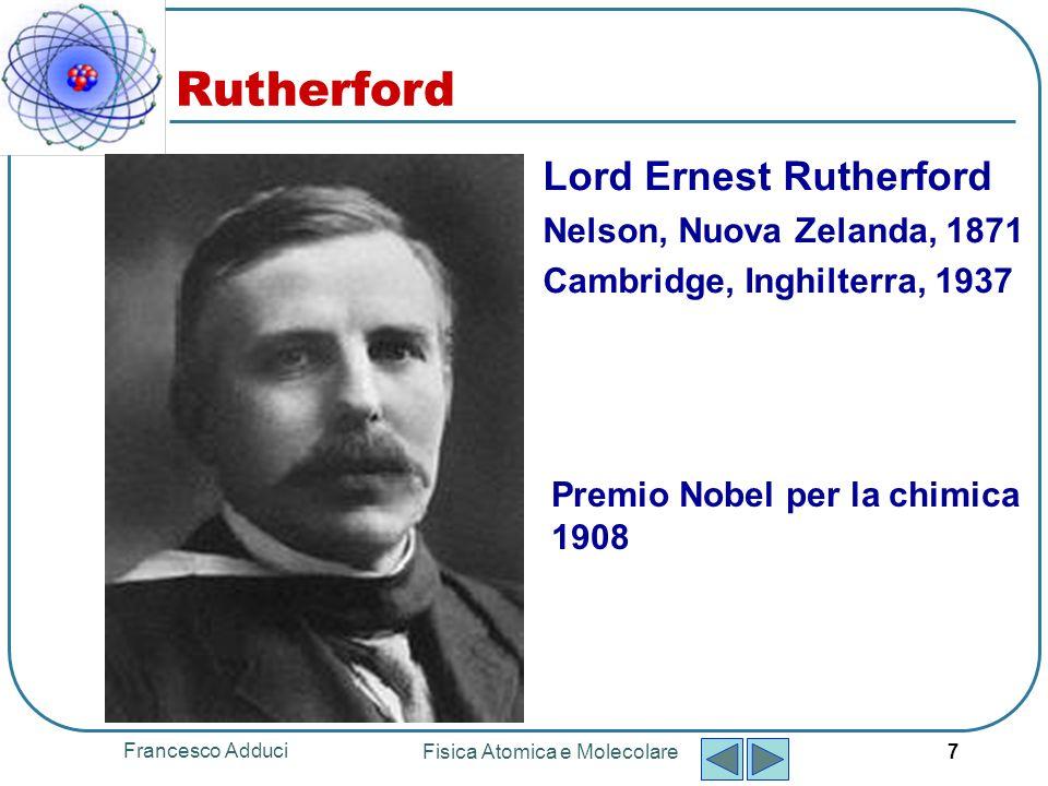 Francesco Adduci Fisica Atomica e Molecolare 8 Rutherford Scattering