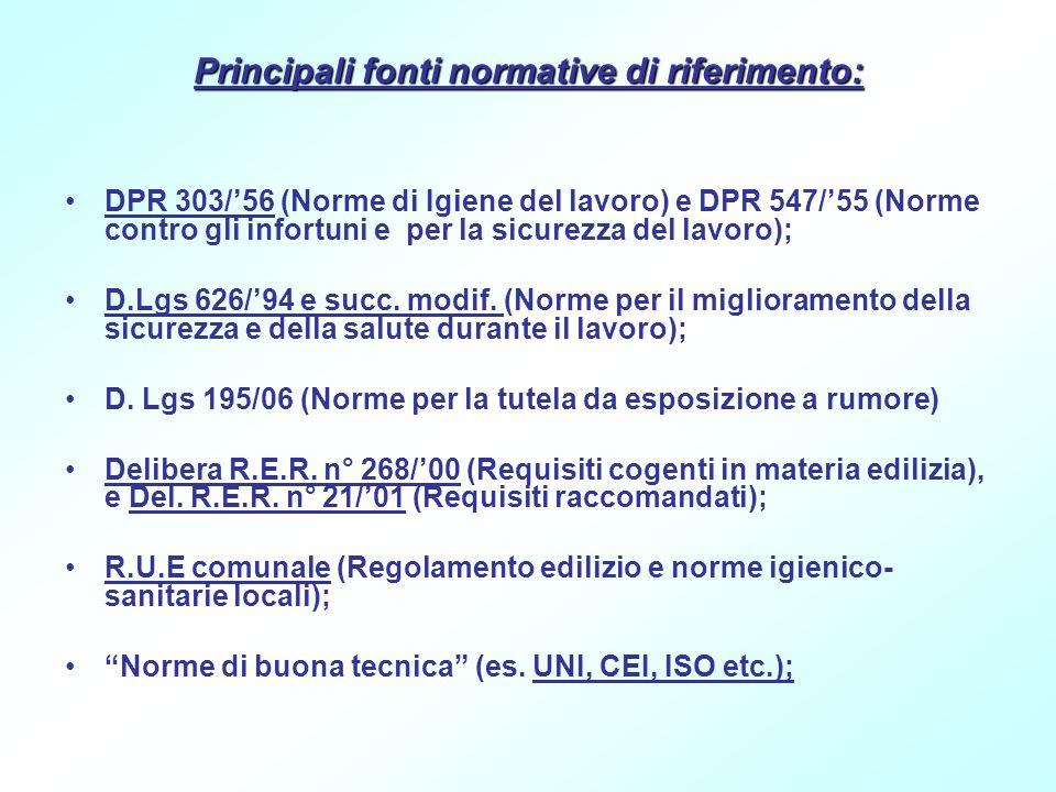 Principali fonti normative di riferimento: DPR 303/56 (Norme di Igiene del lavoro) e DPR 547/55 (Norme contro gli infortuni e per la sicurezza del lav