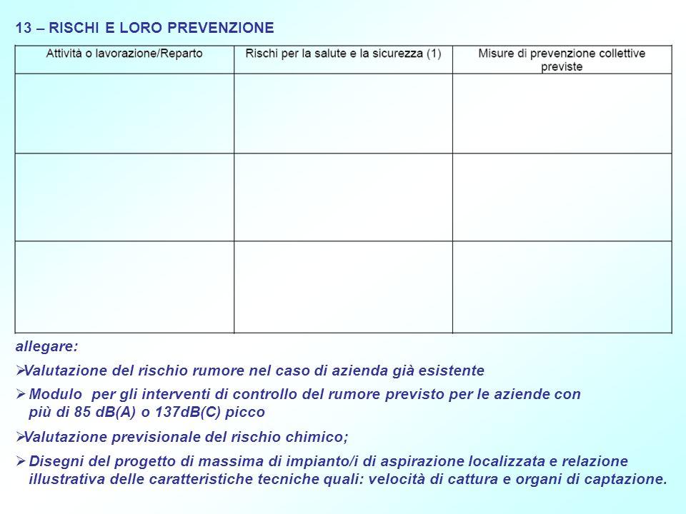 13 – RISCHI E LORO PREVENZIONE allegare: Valutazione del rischio rumore nel caso di azienda già esistente Modulo per gli interventi di controllo del r