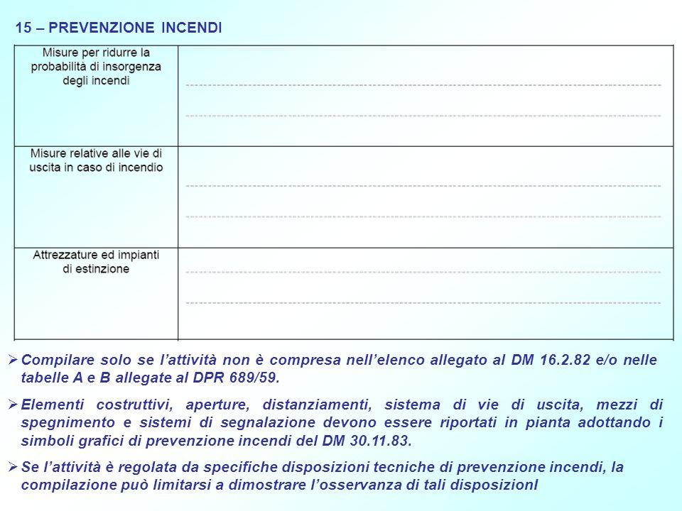 15 – PREVENZIONE INCENDI Compilare solo se lattività non è compresa nellelenco allegato al DM 16.2.82 e/o nelle tabelle A e B allegate al DPR 689/59.