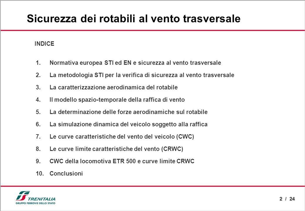2 / 24 INDICE 1.Normativa europea STI ed EN e sicurezza al vento trasversale 2.La metodologia STI per la verifica di sicurezza al vento trasversale 3.