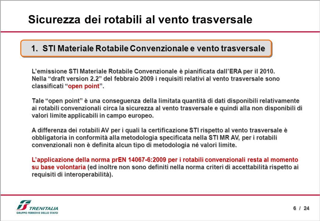 6 / 24 Lemissione STI Materiale Rotabile Convenzionale è pianificata dallERA per il 2010. Nella draft version 2.2 del febbraio 2009 i requisiti relati
