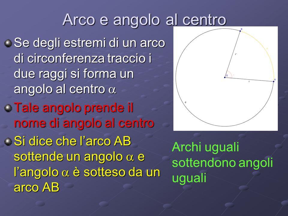 Arco e angolo al centro Se degli estremi di un arco di circonferenza traccio i due raggi si forma un angolo al centro Se degli estremi di un arco di circonferenza traccio i due raggi si forma un angolo al centro Tale angolo prende il nome di angolo al centro Si dice che larco AB sottende un angolo e langolo è sotteso da un arco AB Archi uguali sottendono angoli uguali