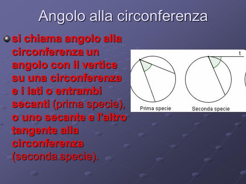 Angolo alla circonferenza si chiama angolo alla circonferenza un angolo con il vertice su una circonferenza e i lati o entrambi secanti (prima specie), o uno secante e l altro tangente alla circonferenza (seconda specie).