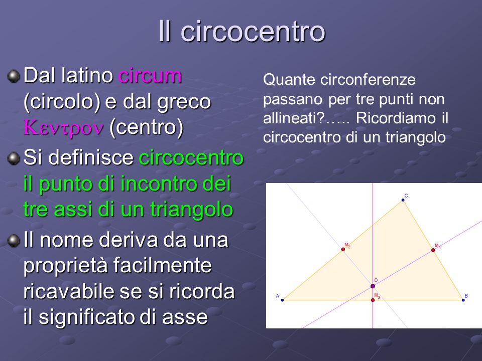 Il circocentro Dal latino circum (circolo) e dal greco (centro) Si definisce circocentro il punto di incontro dei tre assi di un triangolo Il nome deriva da una proprietà facilmente ricavabile se si ricorda il significato di asse Quante circonferenze passano per tre punti non allineati?…..