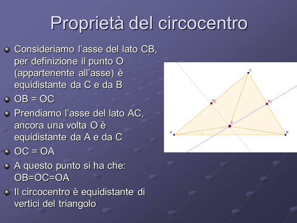 Proprietà del circocentro Consideriamo lasse del lato CB, per definizione il punto O (appartenente allasse) è equidistante da C e da B OB = OC Prendiamo lasse del lato AC, ancora una volta O è equidistante da A e da C OC = OA A questo punto si ha che: OB=OC=OA Il circocentro è equidistante di vertici del triangolo