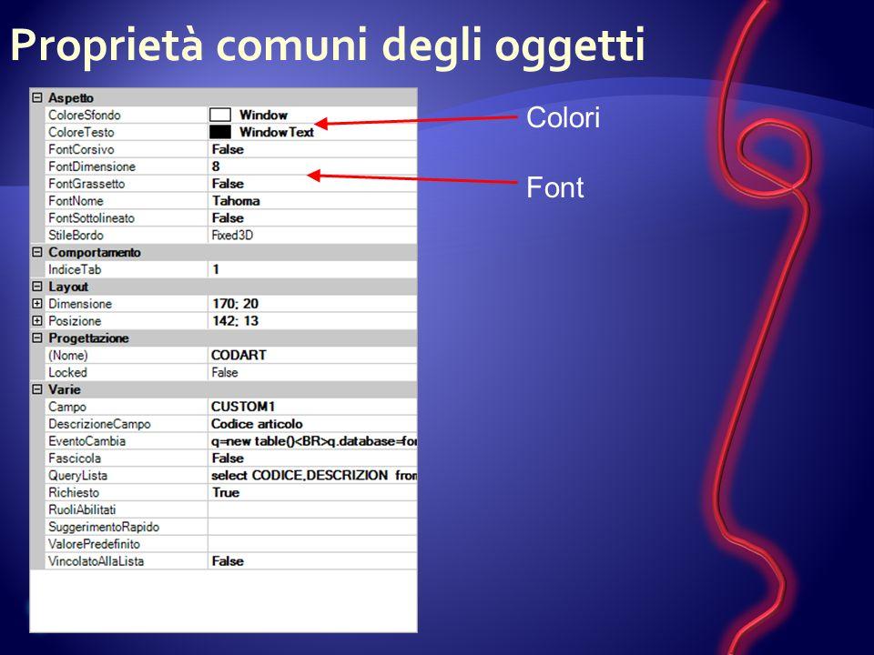 Proprietà comuni degli oggetti Colori Font